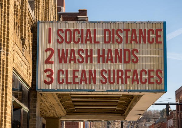 Movie Theatre Sign - Social Distance, Wash Hands and Clean Surfaces; Sterilize Surfaces for Coronavirus
